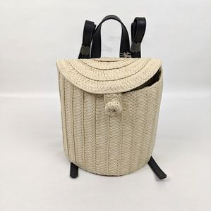 A New Day Small Straw Basket Backpack
